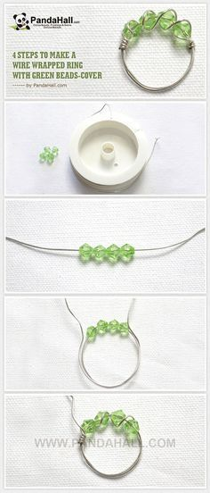 4 Steps to Make a Wire Wrapped Ring with Green Beads (tutorial with pictures)