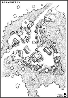 Map of the village of Drakenfort map cartography | Create your own roleplaying game material w/ RPG Bard: www.rpgbard.com | Writing inspiration for Dungeons and Dragons DND D&D Pathfinder PFRPG Warhammer 40k Star Wars Shadowrun Call of Cthulhu Lord of the Rings LoTR + d20 fantasy science fiction scifi horror design | Not Trusty Sword art: click artwork for source