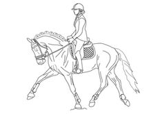 Dressage Horse Coloring Pages Peacock Coloring Pages, Horse Coloring Pages, Horse Drawings, Cute Drawings, Horse Outline, Horse Sketch, Horse And Human, Horse Artwork, Cartoon Girl Images