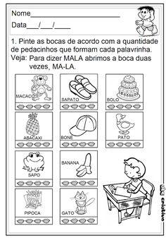 ATIVIDADES DE EDUCAÇÃO INFANTIL E MUSICALIZAÇÃO INFANTIL: Atividades com Sílabas Simples