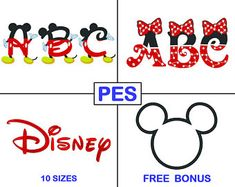 Disney Stickerei Schrift Bundle - 3 Schriftarten - PES - Mickey - Minnie - Stickerei Buchstaben - Bruder - Maschine Designs Stickmuster