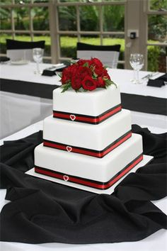 Amanda's Cakes and Invitations - Wedding Cakes- black white and red wedding cake