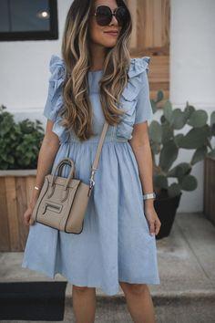 fashion dresses A Ruffled Chambray Dress - fashion Modest Dresses, Simple Dresses, Cute Dresses, Casual Dresses, Elegant Dresses, Sexy Dresses, Church Dresses, Formal Dresses, Modest Wear