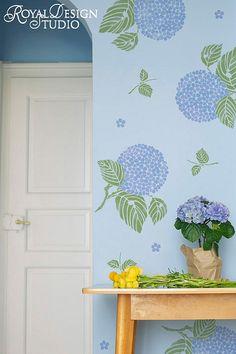 hydrangea wall stencil