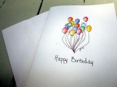 Balloon Art Birthday Cards Watercolor Art Notecards by jojolarue