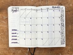 My November monthly bullet journal spread