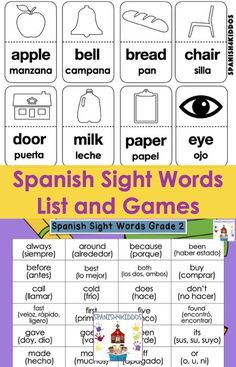 When learning Spanish sight words for second graders, use a variety of games such as bingo, matching, and scavenger activities as well as reading. Learning Sight Words, Sight Words List, Dolch Sight Words, Sight Word Games, Co Teaching, Teaching Strategies, Classroom Labels, Teaching Techniques, Bilingual Education
