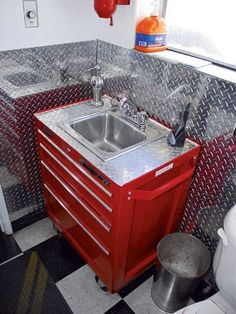 Great garage sink idea: possible firehouse/firefighter-themed man cave bathroom vanity made from a red tool box and accented with a diamond plate back splash Man Cave Bathroom, Garage Bathroom, Bathrooms, Vanity Bathroom, Garage Walls, Man Cave Vanity, Monkey Bathroom, Guys Bathroom, Bathroom Shop