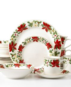 Gibson Poinsettia Christmas China Dinnerware FULL Service for 8 w ...