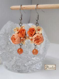 """Set """" flori în asfințit """" - Fimoclas Drop Earrings, Jewelry, Fimo, Jewlery, Jewerly, Schmuck, Drop Earring, Jewels, Jewelery"""