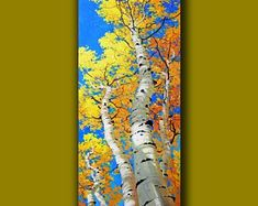 Excited to share the latest addition to my shop: Oil Contemporary Large Art painting, Tall & Skinny Vertical Canvas for your Specific Artwork Wall Decor Unique original Commission _Gary Kim Birch Tree Art, Tree Wall Art, Artwork Wall, Aspen Landscaping, Long Painting, Painting Art, Painting Abstract, Fall Tree Painting, Abstract Canvas