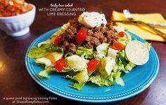 Tasty Taco Salad with Creamy Cilantro Lime Dressing | stupideasypaleo.com #recipe #taco #cilantro
