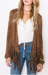 Stylish Collarless Long Sleeve Tassels Embellished Khaki Jacket For Women (KHAKI,L) | Sammydress.com Mobile