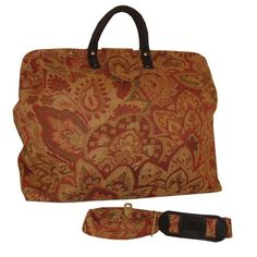 ArtisanStreet's Rose Floral Chenille Carpet Bag with Matching Shoulder Strap. Includes Outside Envelope Pocket at Back. Limited Edition. Use as Overnight Bag or Even as a Briefcase