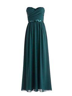 Diyouth Long Column Sweetheart Chiffon Formal Bridesmaid Evening Dress Backless