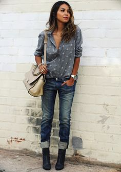 casual shirts, denim and boots androsexy - 10 Ways To Wear Polka Dots
