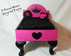 Pet Bed (dog or cat), Upcycled Foot Stool, Wood, 13.25x17x10m, princess bed on Etsy, $139.99