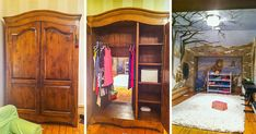Wardrobe leads to Narnia-themed playroom. - wish I had this growing up! but man think of how hard it would be to clean that room. Bedroom Themes, Kids Bedroom, Bedrooms, Kids Rooms, Bedroom Ideas, Houzz, Indoor Swing, Indoor Playhouse, Hidden Rooms