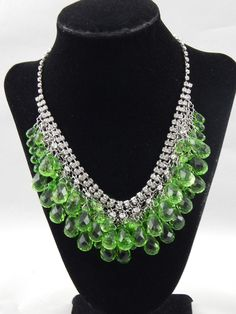 Signed Scaasi Haute Couture Green Lucite Beads & Rhinestone Mesh Bib Necklace