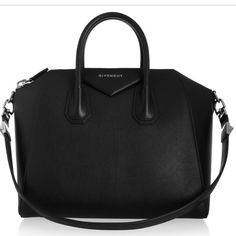 Medium Givenchy Antigona Tote Givenchy's Antigona is crafted  from sugar black leather and lined in durable tonal canvas, it has room for all your office or weekend necessities plus ample pockets to keep a cell phone, wallet and keys organized. Only worn 4x and still like new - Black leather (Calf) - Two top handles, detachable shoulder strap - Designer plaque, silver hardware - Internal zipped and pouch pockets - Fully lined in black canvas - Zip fastening along top - Comes with dust bag…