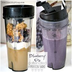 blueberry pie caffeinated protein shake via @semihealthnut at semihealthyblog.com