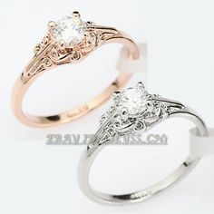 R3091 Fashion 0.46ct Solitaire Engagement Ring 18K GP use Swarovski Crystal