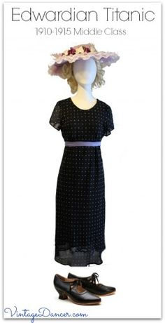 Easy costume dress for a middle class Edwardian era or second class Titanic passenger. Learn how at VintageDancer.com/1900s