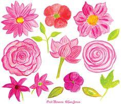 Watercolor Flowers Clip Art Hand Painted Pink by SanJonesDigi, $6.40