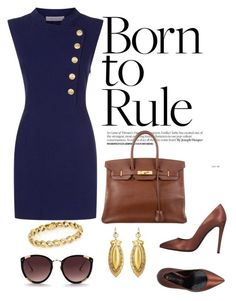 """Work Outfit #1"" by sdkmiller on Polyvore featuring Pierre Balmain, Gianni Marra, Hermès and Rebecca Taylor #womenworkoutfits"