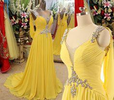 Sequin Prom Dress,Beaded Prom Dress,Yellow Prom Dress,Fashion Prom Dress,Sexy Prom Dress
