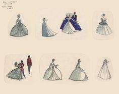 Cinderella ballroom gown concepts by Marc Davis, 1948 Disney Dream, Disney Style, Disney Love, Disney Magic, Disney And Dreamworks, Disney Pixar, Walt Disney, Disney Concept Art, Disney Fan Art