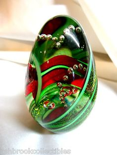 Glass Eye Studio Art Dichroic Series Holly Twist Egg Paperweight with Box 263S