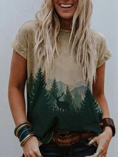 Color Khaki, Comfortable Outfits, Printed Shorts, Short Sleeve Tee, Daily Fashion, Neck T Shirt, Crew Neck, T Shirts For Women, Lady