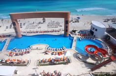 Beach Palace, Cancun, over view of pools and kids water slide