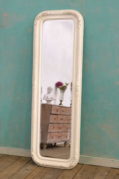 Louis Philippe Fleur White Clay Paint Bevelled Mirror: For sale at www.DUSX.com