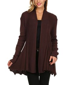 Look at this Brown Sheer Rib Open Cardigan on #zulily today!