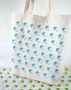 Eco Bags - 2 Cotton totebags hand printed