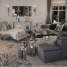 Gray and white living room grey living room decor black and grey living room inspirational best . gray and white living room decorating Beige Living Rooms, Glam Living Room, Cozy Living Rooms, Living Room Interior, Apartment Living, Home And Living, Small Living, Modern Living, Black White And Grey Living Room
