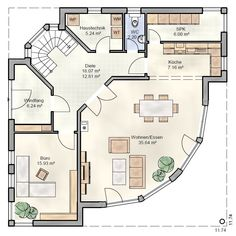 Grundriss Stadtvilla Unterneuses – Ohrdrufer Hausbau – OHB-Hausbau-Gruppe Benefits Of Gardening For House Layout Plans, Dream House Plans, House Layouts, House Floor Plans, Bungalow House Design, Modern House Design, Modern Architecture House, Sustainable Architecture, Architecture Design
