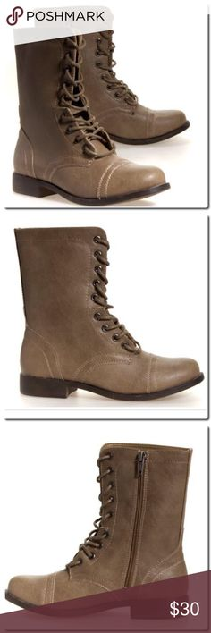 NWOT Madden Girl Gomby Stone Paris Boots NWOT Combat Boots- in box -Features:  synthetic upper lace-up front for a comfy fit stitching accents cushioned footbed synthetic outsole raised heel Madden Girl Shoes Combat & Moto Boots