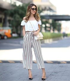 65 perfect summer outfits to wear this moment 53 ~ Litledress Neue Outfits, Chic Outfits, Spring Outfits, Fashion Outfits, Pallazo Pants, Culotte Pants, How To Style Culottes, Tie Waist Trousers, Culottes Outfit
