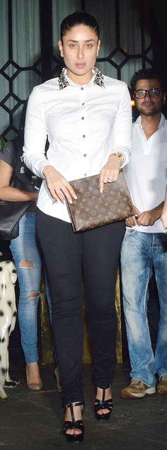 Kareena Kapoor Khan, also in picture: Sanjay Kapoor clicked exiting popular Mumbai nightspot, Nido. #Style #Bollywood #Fashion #Beauty
