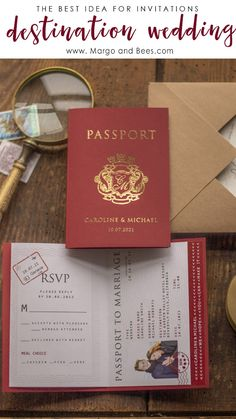 Passport wedding invitations - perfect for destination wedding passportweddinginvitations destinationwedding navywedding burgundyweddingideas beachwedding 551339179379098649 Passport Wedding Invitations, Unique Wedding Invitations, Personalized Invitations, Wedding Invitation Cards, Wedding Stationery, Wedding Cards, Wedding Events, Invitation Set, Wedding Ceremony
