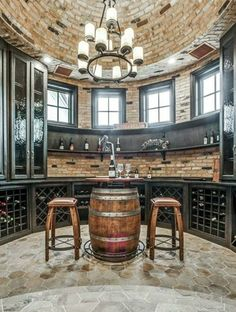 Wine Room / Bar in turret with brick dome ceiling :: Plano, Texas