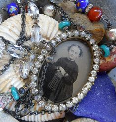 Matilda           Antique Victorian Tintype Assemblage Necklace by HappyMoonDesigns on Etsy