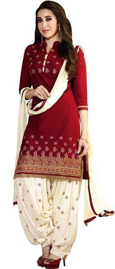 Karishma Kapoor Maroon & Cream Cotton Embroidered Patiala Salwar Suit