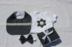 Baby Shower Gift Set Baby Girl One piece AA Navy and by SouthernA