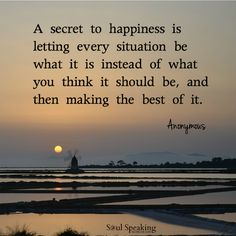 """""""A secret to happiness is letting every situation be what it is instead of what you think it should be, and then making the best of it."""""""