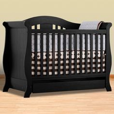 Storkcraft Black Crib - Convertible (to Full size bed!)... Vittoria collection... EXTRA drawer under the crib, too :) ... $369 INCLUDES shipping. YAY!