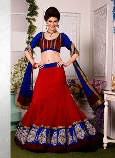 Dazzling Red Net Wedding Lehenga Choli | Bridal Lehenga Choli | Designer Lehenga Choli | Item Code: 2610